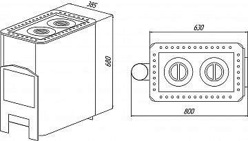 Печь отопительная Уют 2-конфорочная, Варвара Чертеж