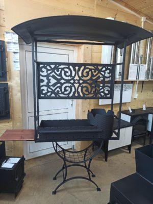 Мангал с печью под казан 6л, с крышей и декоративной панелью
