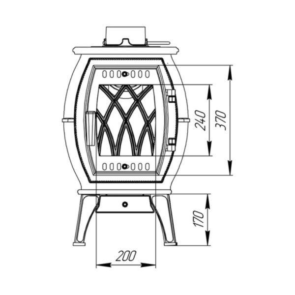Печь-камин отопительно-варочная Бахта габариты